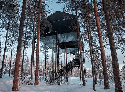 这座树屋旅馆让你睡在北极光下
