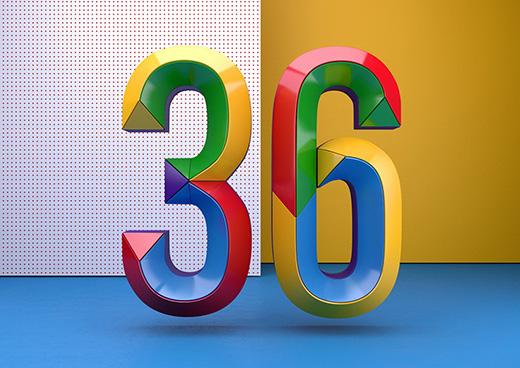 COLORFUL醒目时尚彩色数字字体设计