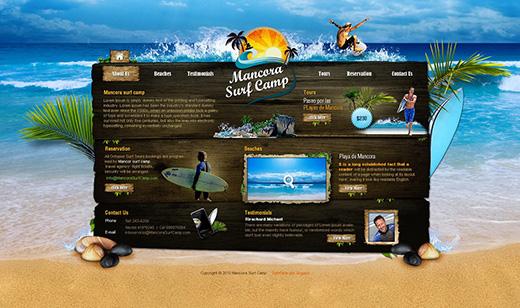 醒目有感觉的海洋岛屿沙滩网页界面设计
