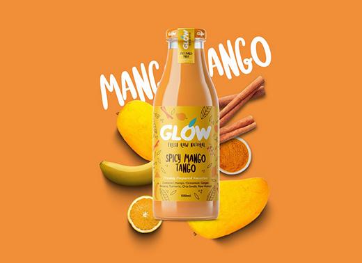 GLOW纯天然系列果汁冰沙饮料包装设计
