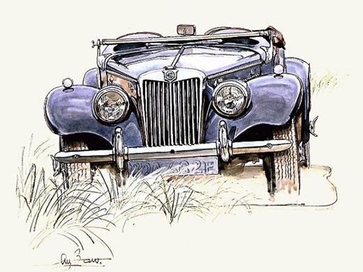 汽车手绘稿=水彩+针管笔=欧式怀旧风格